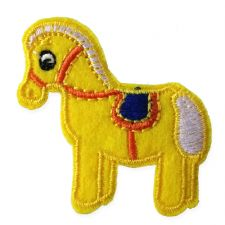 YELLOW PONY MOTIF IRON ON EMBROIDERED PATCH APPLIQUE